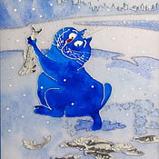 Картины и панно handmade. Livemaster - original item Stained glass painting a Lover of winter fishing. Blue cats by Rina, Sanuk.. Handmade.
