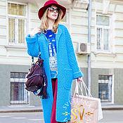 Одежда ручной работы. Ярмарка Мастеров - ручная работа Вязаное пальто- кардиган бирюзовое. Handmade.
