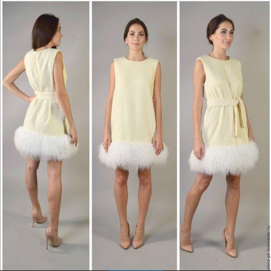 Платья ручной работы. Ярмарка Мастеров - ручная работа. Купить Платье с отделкой из натурального меха. Handmade. Бежевый, натуральный мех