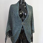 Одежда ручной работы. Ярмарка Мастеров - ручная работа Накидка-кардиган из кид-мохера серый/голубой/зеленый меланж. Handmade.