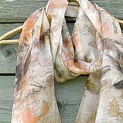"""Аксессуары ручной работы. Ярмарка Мастеров - ручная работа Шелковый шарф, эко принт """"Рябина"""". Handmade."""