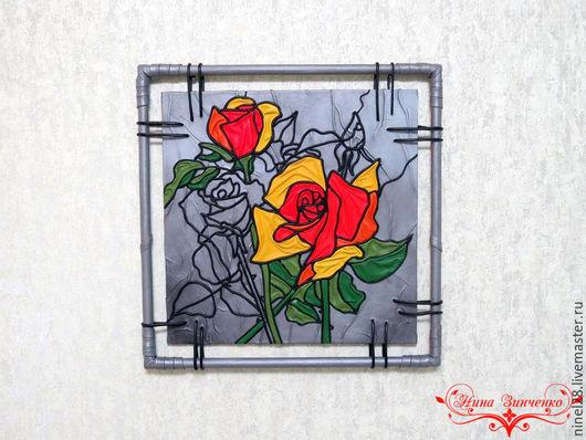 """Картины цветов ручной работы. Ярмарка Мастеров - ручная работа. Купить Панно из кожи """"Розы"""". Handmade. Панно из кожи"""