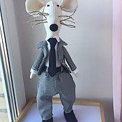 Мягкие игрушки ручной работы. Ярмарка Мастеров - ручная работа Деловой усатый крыс в костюме босса. Handmade.