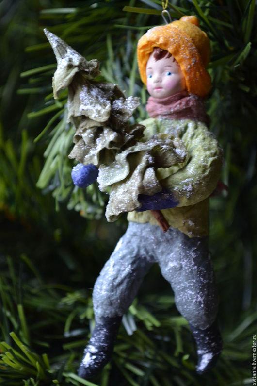 Ватная елочная игрушка. Ватное папье-маше. Игрушка из ваты. Новогодняя игрушка. Елочная игрушка. Елочное украшение. Подарок на Новый Год.
