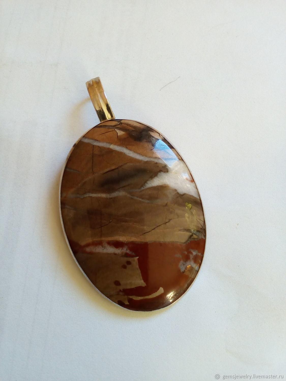 Elegant pendant: LANDSCAPE JASPER, 925 silver, Pendants, Ekaterinburg,  Фото №1