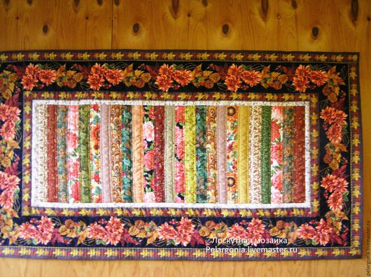 """Картины цветов ручной работы. Ярмарка Мастеров - ручная работа. Купить Лоскутное панно-ковер на стену """"Яркая осень""""(пэчворк,лоскутное шитье). Handmade."""