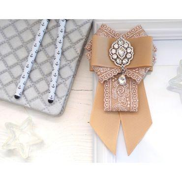 Works for children handmade. Livemaster - original item Tie-frill School tie girl`s Tie-brooch. Handmade.