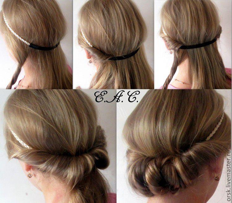 Как делать прическу с греческой повязкой на средние волосы