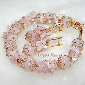 Украшения handmade. Livemaster - original item Set of pink quartz