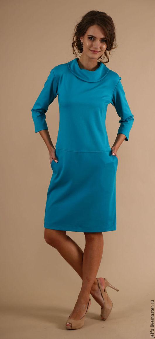 Платья ручной работы. Ярмарка Мастеров - ручная работа. Купить Платье из тонкого  джерси арт.5405. Handmade. Тёмно-бирюзовый