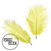Материалы для творчества ручной работы. Ярмарка Мастеров - ручная работа Маленькие перья страуса 15-17 см Желтый. Handmade.