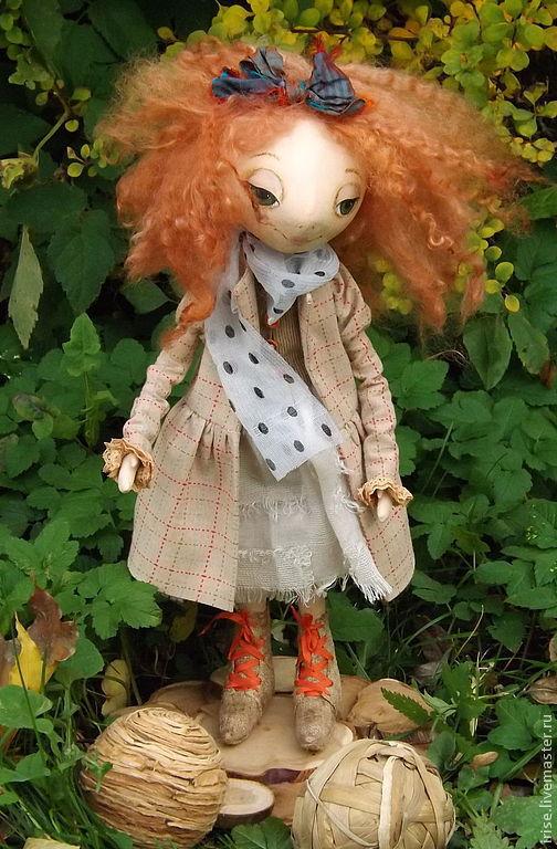 Коллекционные куклы ручной работы. Ярмарка Мастеров - ручная работа. Купить Кукла Амалия грунтованный текстиль. Handmade. Рыжий, фермуар