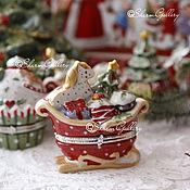 """Предметы интерьера винтажные ручной работы. Ярмарка Мастеров - ручная работа Шкатулочка """"Новогодняя"""", Winter Bakery от Villeroy & Boch Германия. Handmade."""