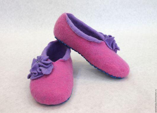 """Обувь ручной работы. Ярмарка Мастеров - ручная работа. Купить тапочки валяные""""розовая пена"""". Handmade. Розовый, для дачи, шерстяные тапочки"""