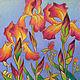 Картины цветов ручной работы. Ярмарка Мастеров - ручная работа. Купить Ирисы, пастель,бумага 30х41. Handmade. Цветок, пастель