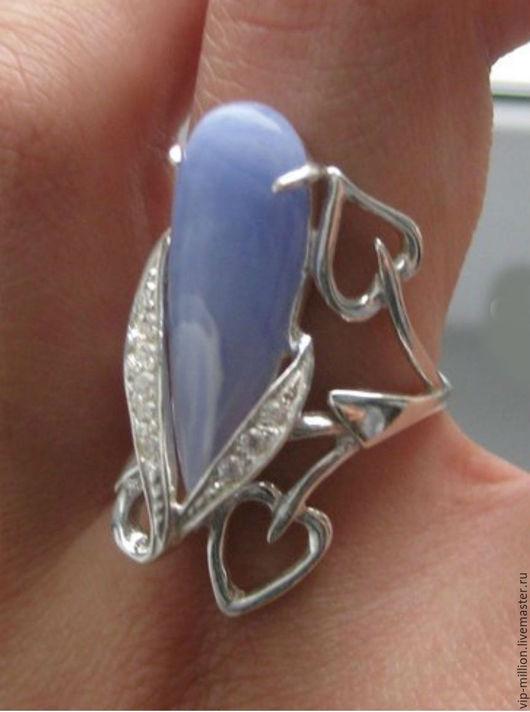Кольца ручной работы. Ярмарка Мастеров - ручная работа. Купить Серебряное кольцо с натуральным голубым агатом.. Handmade. Голубой, кольцо