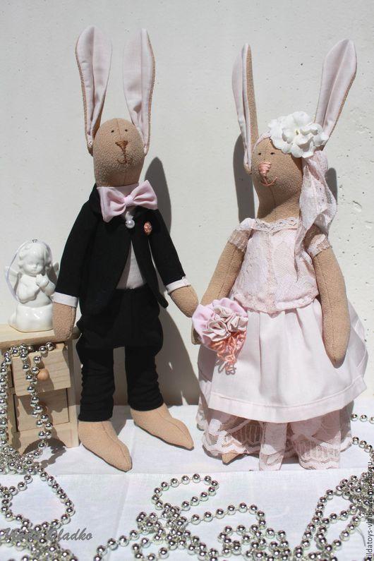 Куклы Тильды ручной работы. Ярмарка Мастеров - ручная работа. Купить Свадебная парочка зайцев в стиле шебби. Handmade. Кремовый