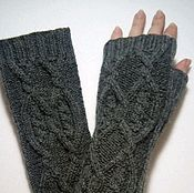 Аксессуары handmade. Livemaster - original item 163 fingerless long gloves, dark grey. Handmade.