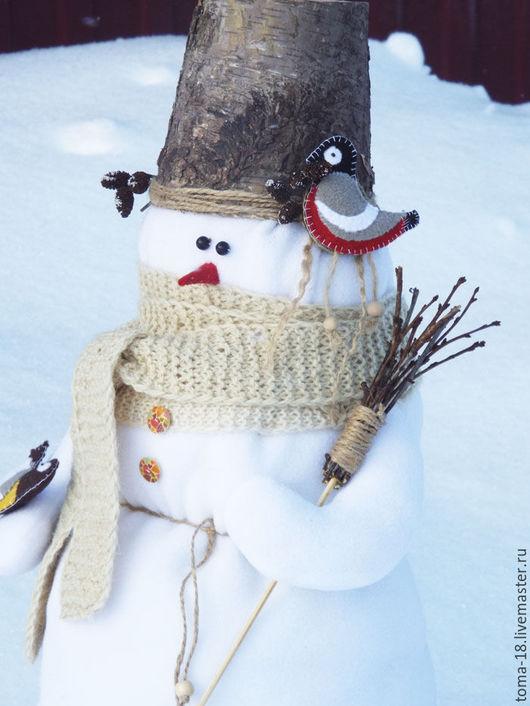 Куклы Тильды ручной работы. Ярмарка Мастеров - ручная работа. Купить Снеговик.. Handmade. Снеговик, интерьерный снеговик, шляпа из бересты
