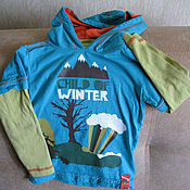 Винтаж handmade. Livemaster - original item Vintage clothing: Bright hooded t-shirt size 98. Handmade.