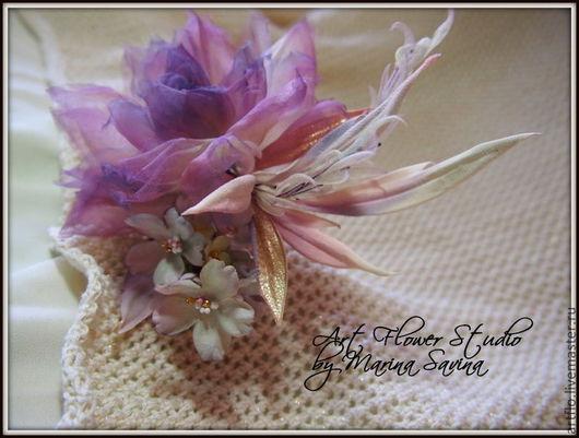 """Цветы ручной работы. Ярмарка Мастеров - ручная работа. Купить Роза """" Сиреневый закат"""" -  брошь, украшение в причёску, вуалетка. Handmade."""