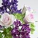 """Букеты ручной работы. Ярмарка Мастеров - ручная работа. Купить Букет """"Комплимент"""" с розами и сиренью. Handmade. Цветы, чувства, decoclay"""