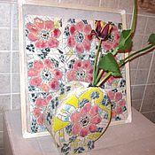 """Для дома и интерьера ручной работы. Ярмарка Мастеров - ручная работа Ваза """"Маки"""" и комплект из керамической плитки. Handmade."""