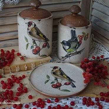 """Для дома и интерьера ручной работы. Ярмарка Мастеров - ручная работа """"Птичьи трели""""-набор для кухни. Handmade."""