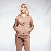 handmade. Livemaster - original item Jacket and pants made of beige footer. Handmade.