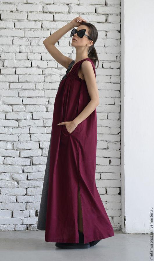 Платья ручной работы. Ярмарка Мастеров - ручная работа. Купить Бордово-серый сарафан. Handmade. Бордовый, сарафан, свободное платье
