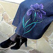 """Одежда ручной работы. Ярмарка Мастеров - ручная работа Теплая, длинная  джинсовая  юбка  """"Ирис"""". Handmade."""