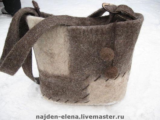 Женские сумки ручной работы. Ярмарка Мастеров - ручная работа. Купить сумка в экостиле. Handmade. Сумка, войлочная сумка, коричневый