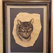"""Картины и панно ручной работы. Ярмарка Мастеров - ручная работа Картина в багете """"Кот"""". Handmade."""