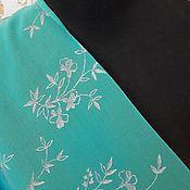 """Материалы для творчества ручной работы. Ярмарка Мастеров - ручная работа Крепжоржет """" Бирюза с серебром """"  2,9 м ,ширина 95 см. Handmade."""
