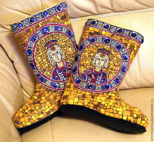 Обувь ручной работы. Ярмарка Мастеров - ручная работа. Купить Мозаика. Handmade. Золотой, валенки, дизайнерские валенки, обувь для улицы