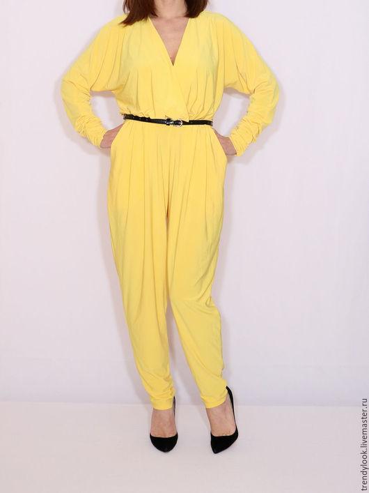 Комбинезоны ручной работы. Ярмарка Мастеров - ручная работа. Купить Желтый комбинезон с длинным рукавом летучая мышь. Handmade. Желтый
