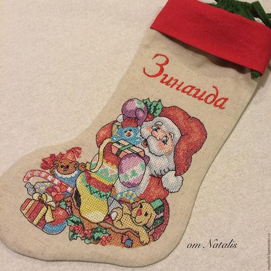 """Новый год 2017 ручной работы. Ярмарка Мастеров - ручная работа. Купить Новогодний носок-мешочек  """"Санта -1"""". Handmade. Серый"""
