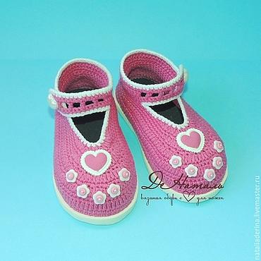 Обувь ручной работы. Ярмарка Мастеров - ручная работа Пинетки туфельки, пинетки вязаные, пинетки на подошве. Handmade.