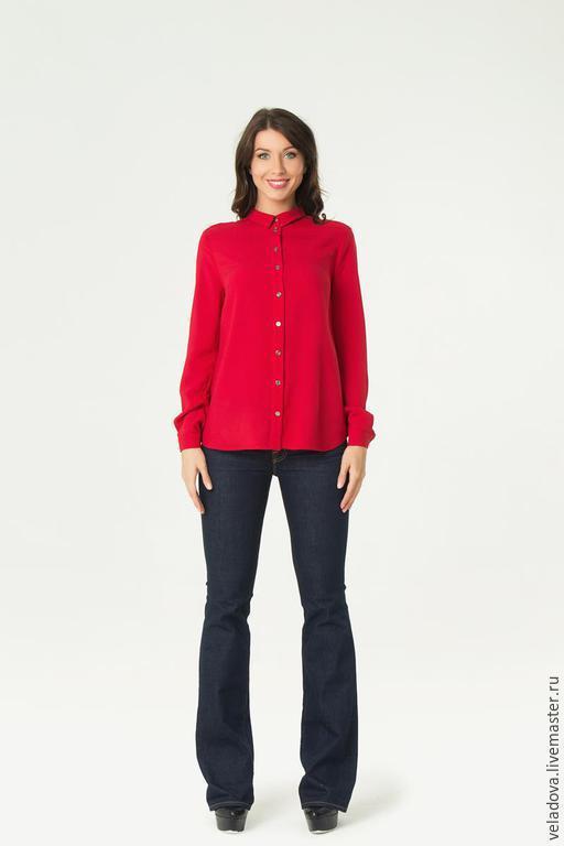 """Блузки ручной работы. Ярмарка Мастеров - ручная работа. Купить Блузка - рубашка """"Красна Девица"""". Handmade. Красный, красная блузка"""