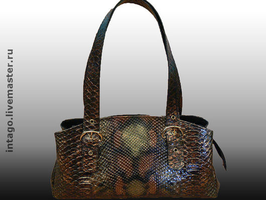 Handbags handmade. Livemaster - handmade. Buy Bag 'Anaconda with buckles'.Bag, under the reptile, metal hardware