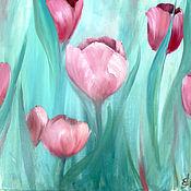 Картины и панно ручной работы. Ярмарка Мастеров - ручная работа Нежность тюльпанов - картина маслом цветы. Handmade.
