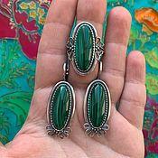 Украшения handmade. Livemaster - original item @Earrings and ring with natural stones. Silver. RUSSIA.. Handmade.