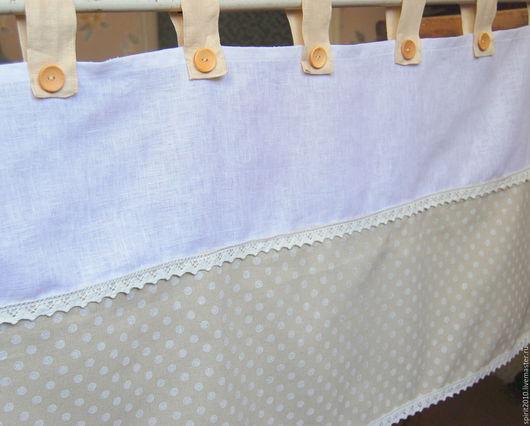 Текстиль, ковры ручной работы. Ярмарка Мастеров - ручная работа. Купить Шторка на кухню. Handmade. Бежевый, лён
