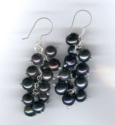 earrings in the form of clusters of black currant. Natural black pearl.