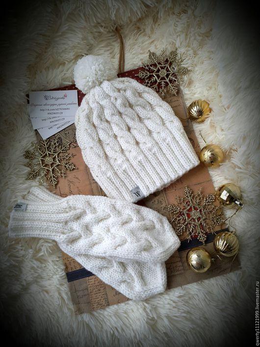 """Шапки ручной работы. Ярмарка Мастеров - ручная работа. Купить Комплект зимний """"Snowflake"""" шапка, варежки. Handmade. Белый"""