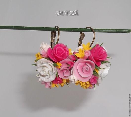 Серьги,серьги с цветами,серьги с цветами из полимерной глины,керамическая флористика,авторское украшение.