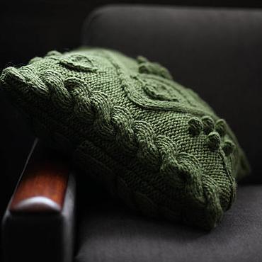 Textiles handmade. Livemaster - original item Pistachio pillow knitted Pillow decorative Pillow on the sofa. Handmade.
