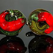 Украшения ручной работы. Ярмарка Мастеров - ручная работа запонки Острый перец. Handmade.