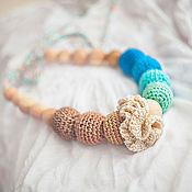 Одежда ручной работы. Ярмарка Мастеров - ручная работа Слингбусы с цветком бирюзово-бежевые. Handmade.