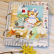Канцелярские товары ручной работы. Ярмарка Мастеров - ручная работа Мамн блокнот, дневник в морском стиле для девочки. Handmade.